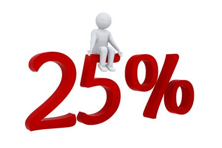 per cent: 3D human sits on a 25