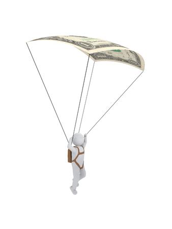 humane: 3d human with parachute dollar