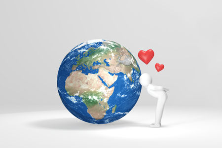 africa kiss: 3D human kisses Earth - Europe, Africa, Middle East