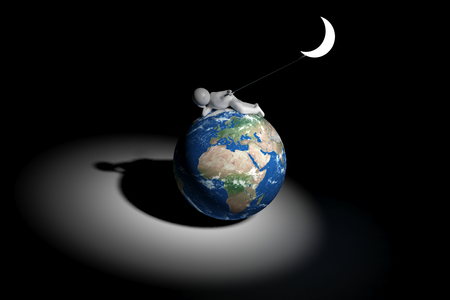 middle east peace: sweet 3d human holds the moon - Europe, Africa, Middle East version