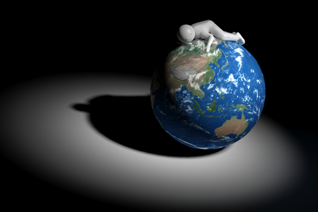 oceania: 3D human sleeps on Earth - Asia Oceania edition