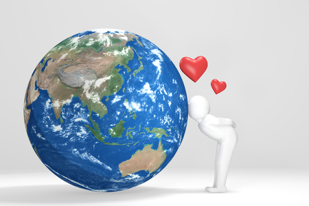 oceania: 3D man kisses Earth - Asia Oceania  Edition Stock Photo