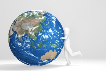 oceania: 3d Man hugs Earth - Asia Oceania Edition Stock Photo