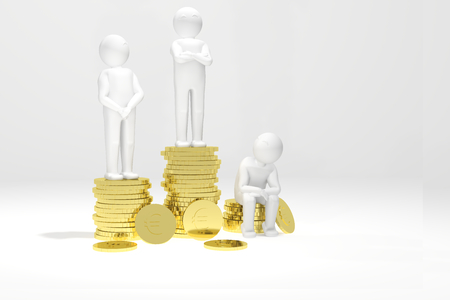 euro coins: 3d humans on a podium made of gold euro coins. Stock Photo