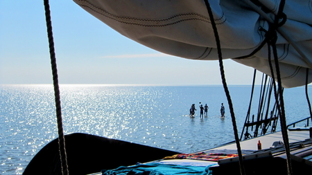 Volley: Sailing Vacation, people play volley on mudflat
