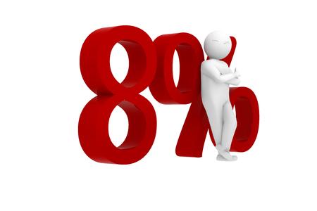 3d human leans against 8%