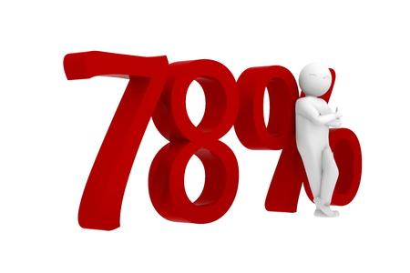 3d human leans against 78% Stock Photo
