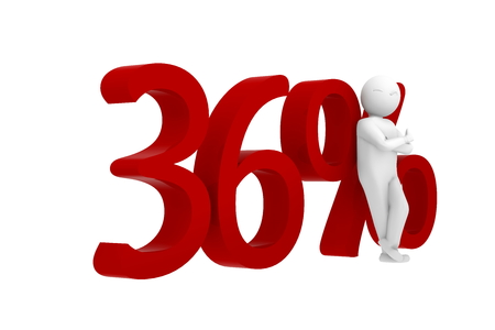 36: 3d human leans against a red 36%