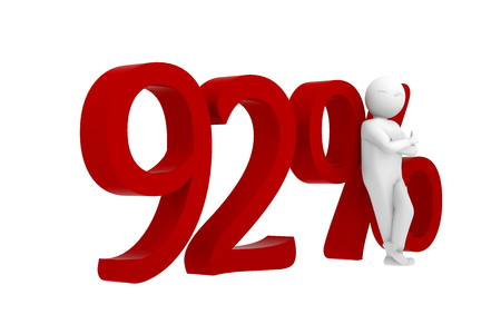 92: 3d human leans against a red 92%