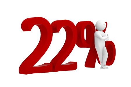 percent sign: 3d human leans against a red 22% Stock Photo