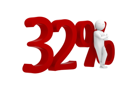 32: 3d human leans against a red 32% Stock Photo