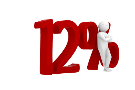 a 12: 3d human leans against a red 12% Stock Photo