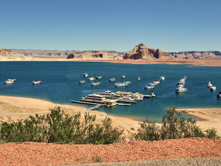 typical: The Lake Powell with typical houseboats