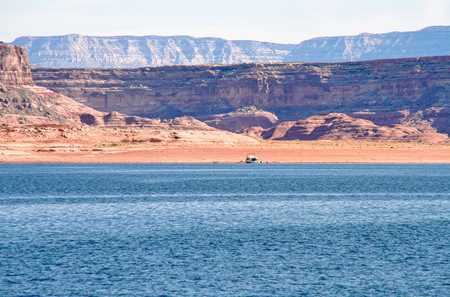 Houseboat in lake Powell, by Page Stok Fotoğraf