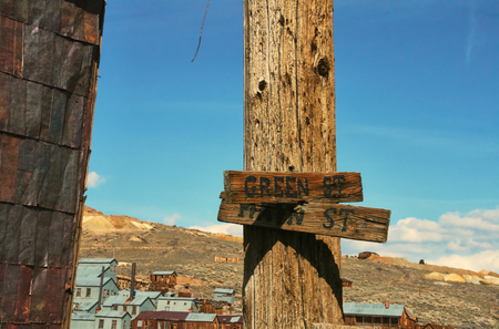 Old street name sign in the ghost town of Bodie - California 스톡 콘텐츠