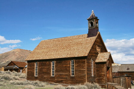 The abandoned church in the ghost town of Bodie - California Stok Fotoğraf