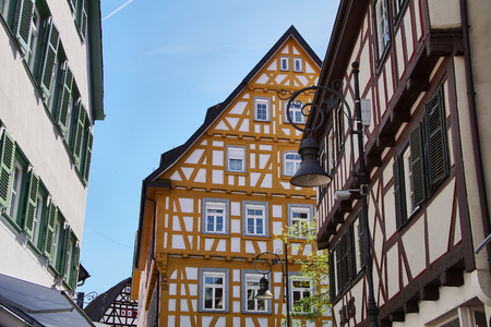 traditional german timber frame house in Waiblingen (Baden-Wuerttemberg) Stok Fotoğraf - 107257150