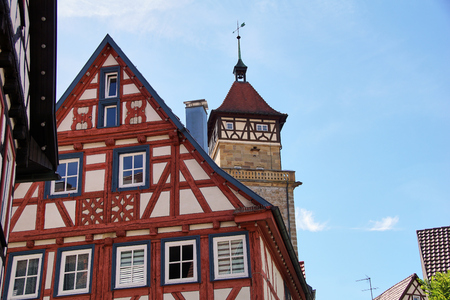 traditional german timber frame house in Waiblingen (Baden-Wuerttemberg) Stok Fotoğraf - 107257175