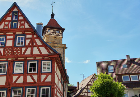 traditional german timber frame house in Waiblingen (Baden-Wuerttemberg) Stok Fotoğraf - 107256759
