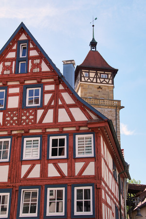 traditional german timber frame house in Waiblingen (Baden-Wuerttemberg) Stok Fotoğraf - 107256787