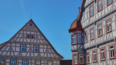 Blue sky on traditional german timber frame houses in Waiblingen (Baden-Wuerttemberg