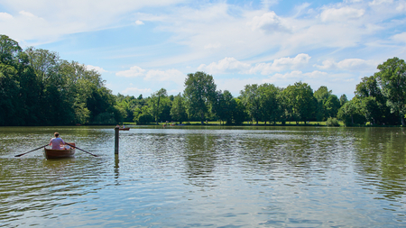 Tourists have fun with boats on a artifial lake in Germany Stok Fotoğraf