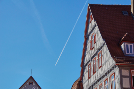 Blue sky on a traditional german timber frame house in Waiblingen (Baden-Wuerttemberg