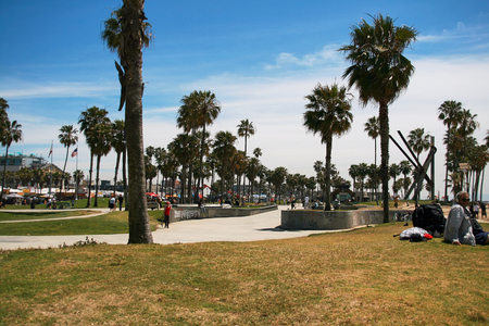 SANTA MONICA, LOS ANGELES - APRIL 9th 2014: Daytime view of the Venice Beach in Santa Monica - a part of Los Angeles. Venice Beach is popular by domestic residents for relaxing.