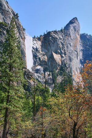 The Bridalveil fall in Yosemite national park