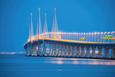 2nd Penang Bridge During Blue Hour Stock Photo