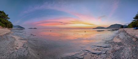Panoramic Sunrise reflection view of Permatang Damar Laut
