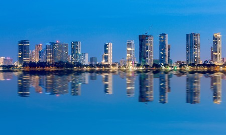 gurney: Blue hour view High Rise Building of Gurney Drive and George Town Metropolitan from Straits Quay, Penang Malaysia Stock Photo