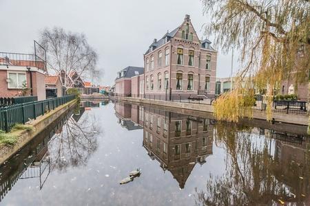 volendam: Holiday in Holland - Cold raining wet winter in Volendam Stock Photo