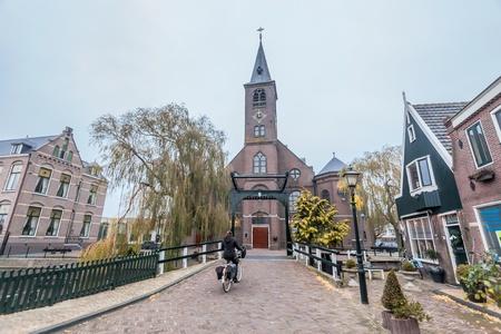 volendam: Holiday in Holland - Cold raining wet winter in Volendam Editorial