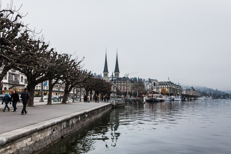 Holiday in Europe - Beautiful foggy view of winter landscape in Lucerne, Switzerland Stock Photo