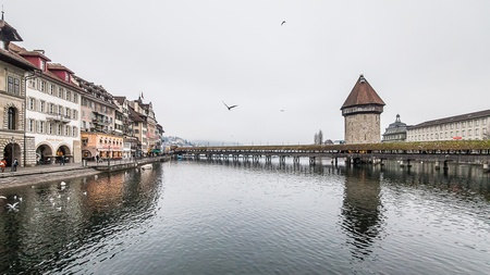 swiss alps: Holiday in Europe - Beautiful foggy view of winter landscape in Lucerne, Switzerland Stock Photo