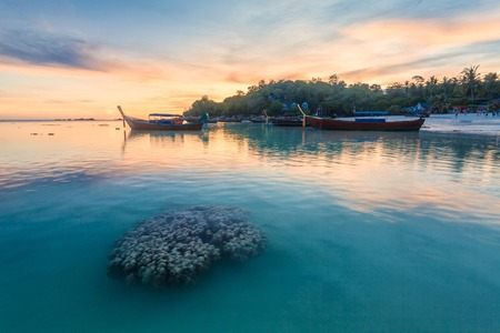 Holiday in Thailand - Beautiful Island of Koh Lipe sunrise and sunset by the beach with coral