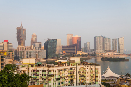 macao: Holiday in Macao - Sunset town view with macau tower