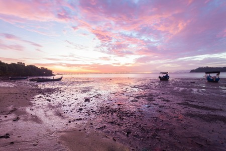 mitre: Purple Sunrise view with boats and Penang Bridge from Hammer Bay, George Town Penang, Malaysia