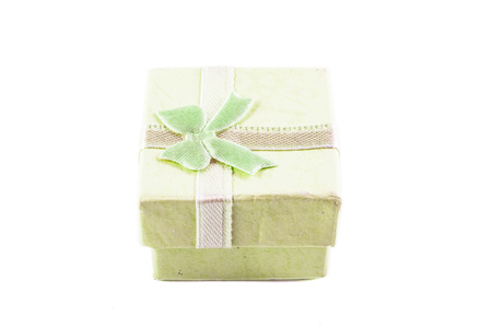 yellow green: Classic yellow green color paper small gift box for present wrapping with white background Stock Photo