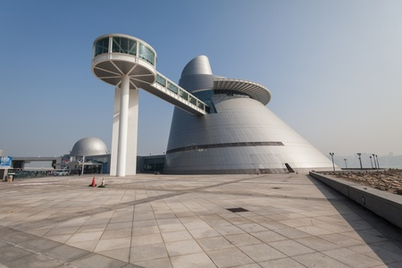 conceived: Taipa, Macau - February 2, 2015: Macao Science Center is a science center in Macau, China. The project to build the science center was conceived in 2001 and completed in 2009 MGM Hotel