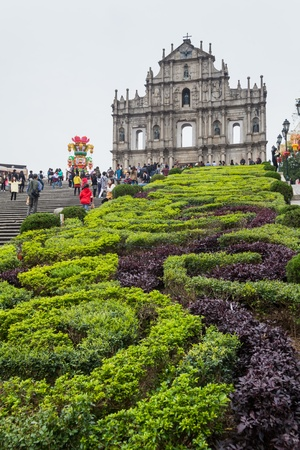 Senado, Macau - February 3, 2015: Ruins of St. Pauls are the ruins of a 16th-century complex in Macau including what was originally St. Pauls College and the Church of St. Paul also known as Mater Dei, a 17th-century Portuguese church dedicated to Sai