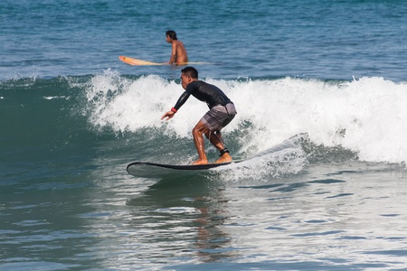 kuta: BALI, INDONESIA, 8 April 2016: Surfing in Kuta. Editorial