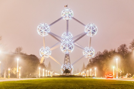 Brussels, Belgium, 3 December 2014: The Atomium is a building in Brussels originally constructed for Expo 58, the 1958 Brussels Worlds Fair. Designed by the engineer André Waterkeyn and architects André and Jean Polak, it stands 102 m tall. Editorial
