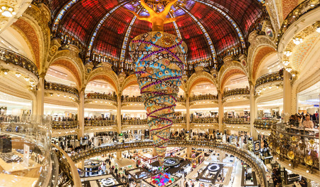 Paris France, November 2014: Holiday in France - Lafayette Galeries during winter Christmas