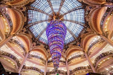 lafayette: Paris France, November 2014: Holiday in France - Lafayette Galeries during winter Christmas