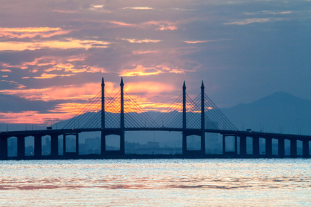 bridge over water: Concrete bridge view during sunrise as background Stock Photo
