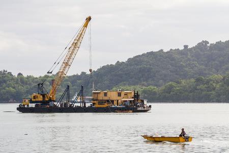 Sand replenishment ship for land reclamation Stock Photo