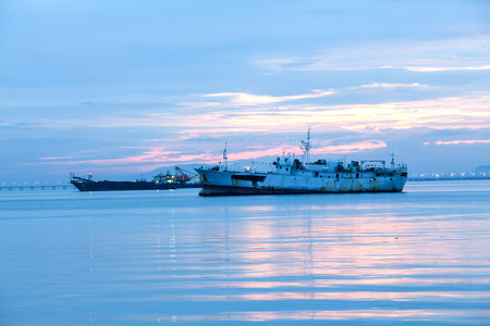 Commercial steel boat on ocean for background photo
