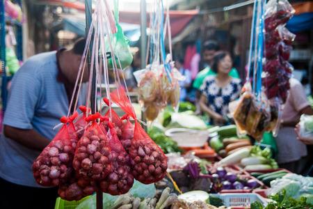 fish vendor: Georgetown, Penang - December 17, 2016 : View of wet market in Penang, Malaysia